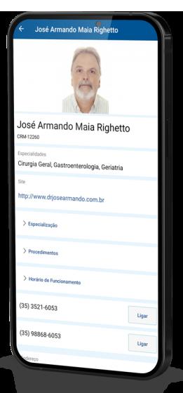 Também, informações como telefones para CONTATO, EMAIL, MAPA de trajeto e link para o SITE do profissional.