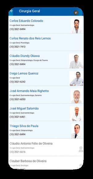 Após selecionar a especialidade, aparecerá uma lista com os profissionais indicados.